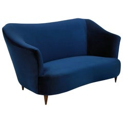 Sculptural Sofa by ISA in Blue Velvet