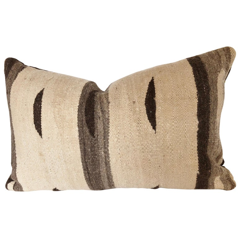 Custom Pillow by Maison Suzanne, Cut from a Moroccan Vintage Wool Ourika Rug For Sale