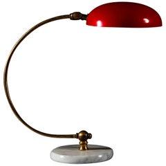Mid-20th Century Curved Brass, Enamel and Carrara Marble Italian Desk Lamp