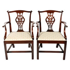 Pair of 19th Century Georgian Mahogany Chippendale Elbow Chairs