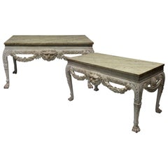 Pair of Large English Country House Console Tables