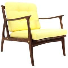 Italian Midcentury Armchair with Yellow Cushions, 1950s