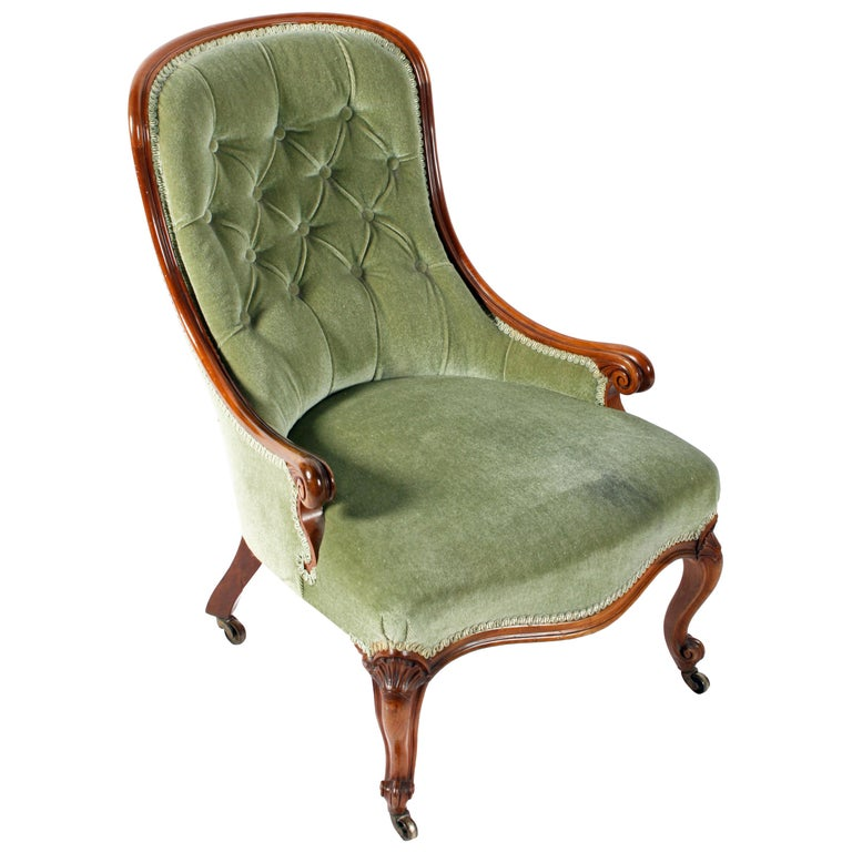 19th Century Victorian Walnut Slipper Shaped Easy Arm Chair For Sale