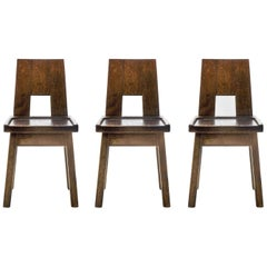 Hand Carved, Brutalistic Chairs Made of Solid Oak