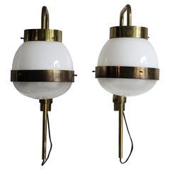 "Sergio Mazza Italian Glass Brass Wall Lamps or Sconces ""Delta"" for Artemide 1960"