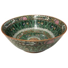 Famille Rose Cabbage Leaf and Butterfly Bowl