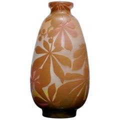 Monumental Emile Galle Four-Color Botanicals Vase, circa 1905
