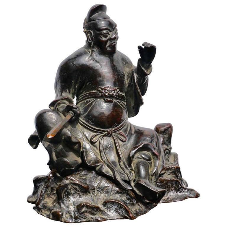 Ming Dynasty Bronze Figure of Guandi or Guan Yu For Sale
