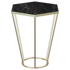 Sei Contemporary Side Coffee Table Handmade and Customizable in Marble and Brass