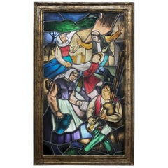 19th Century Stained Glass Window ~ Lighted Shadowbox