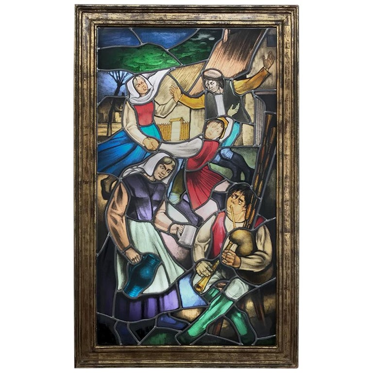 19th Century Stained Glass Window ~ Lighted Shadowbox For Sale
