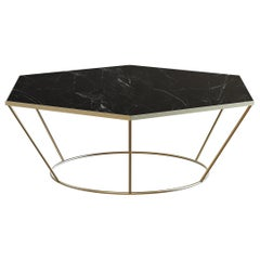 Sei Contemporary Center Coffee Table Handmade & Customizable in Marble and Brass