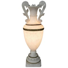 Antique Neoclassical Alabaster Table Lamp
