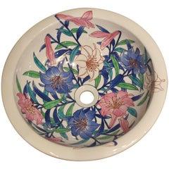 Contemporary Japanese Imari Blue Red White Porcelain Washbasin by Master Artist