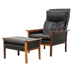 Hans Olsen for Vatne Mobler Lounge Chair and Ottoman in Leather and Rosewood