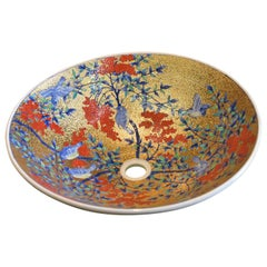 Japanese Contemporary Gilded Red Blue Porcelain Washbasin by Master Artist