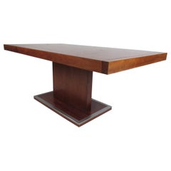 Mid-Century Modern Walnut Dining Table with a Pedestal Base