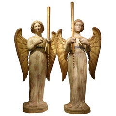 Rare Pair of 14th Century Angels, Siena, Italy