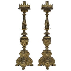 Vintage Pair of Candlesticks, Italian Baroque Style, 18th Century