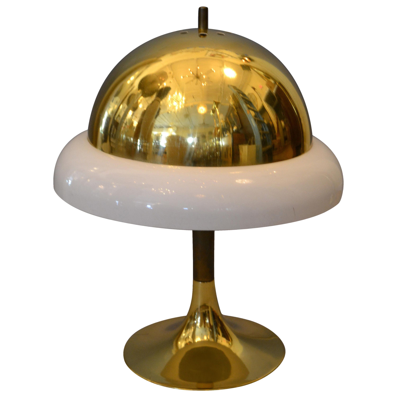 1950s Mid-Century Modern Italian Brass and Plastic Table Lamp