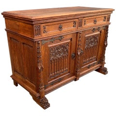Stunning Gothic Revival Cabinet / Small Credenza with Hand Carved Church Windows