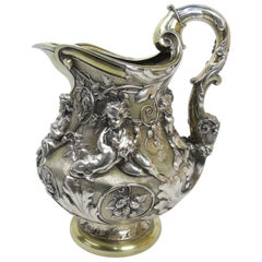 Large Ornate Putti Cavorting Among Hops Repousse Pitcher Elkington 19th Century