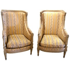 Pair of Maison Jansen attrib. French Wingback or armchairs in a Swedish Finish