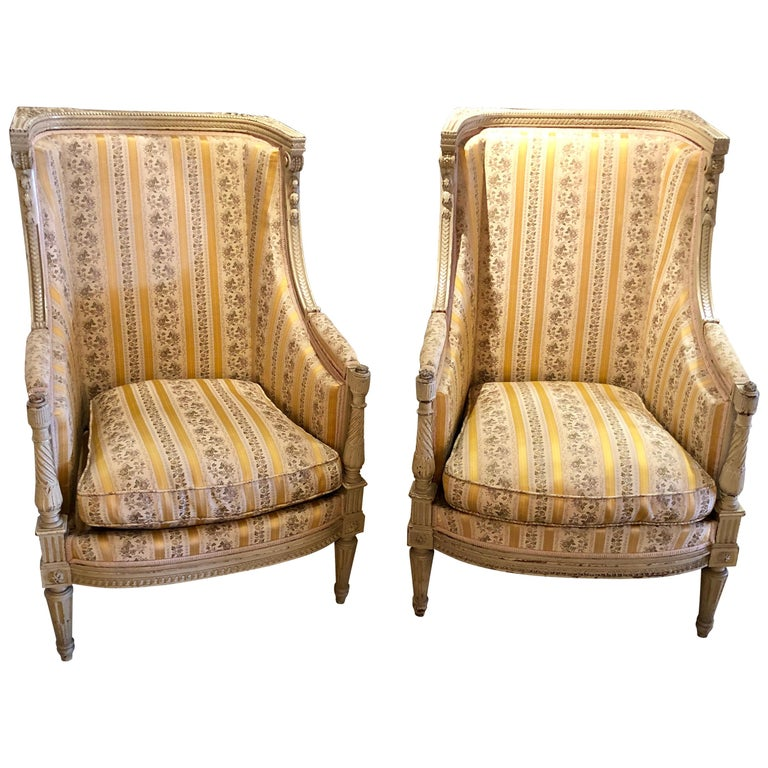 Pair of Maison Jansen attrib. French Wingback or armchairs in a Swedish Finish For Sale