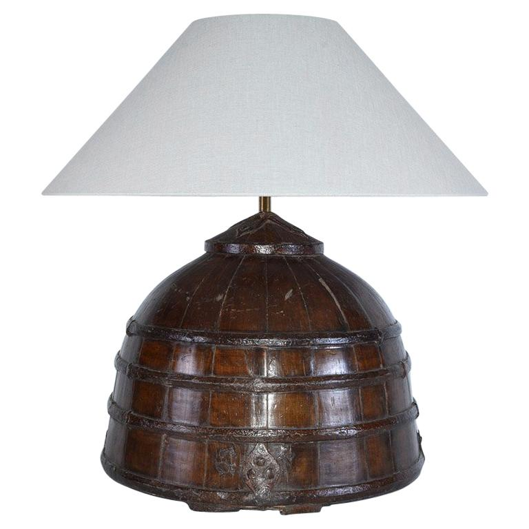Rustic Antique Chinese Water Bucket Jar Shape Lamp For Sale