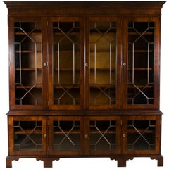 Large Mahogany Glass Door Breakfront Bookcase Cabinet