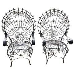 Pair of Midcentury Salterini Wrought Iron Peacock Chairs