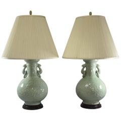 Pair of Celadon Antique Porcelain Asian Lamps, Wood Base, Floral Designs