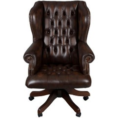 Large Tufted Brown Leather Desk Chair