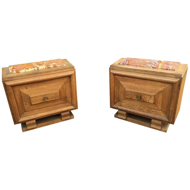 Pierre Bloch, Pair of Bedside Tables in Oak, Edition La Gentilhommiere, 1940 For Sale