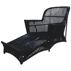 Antique Stick Wicker Chaise