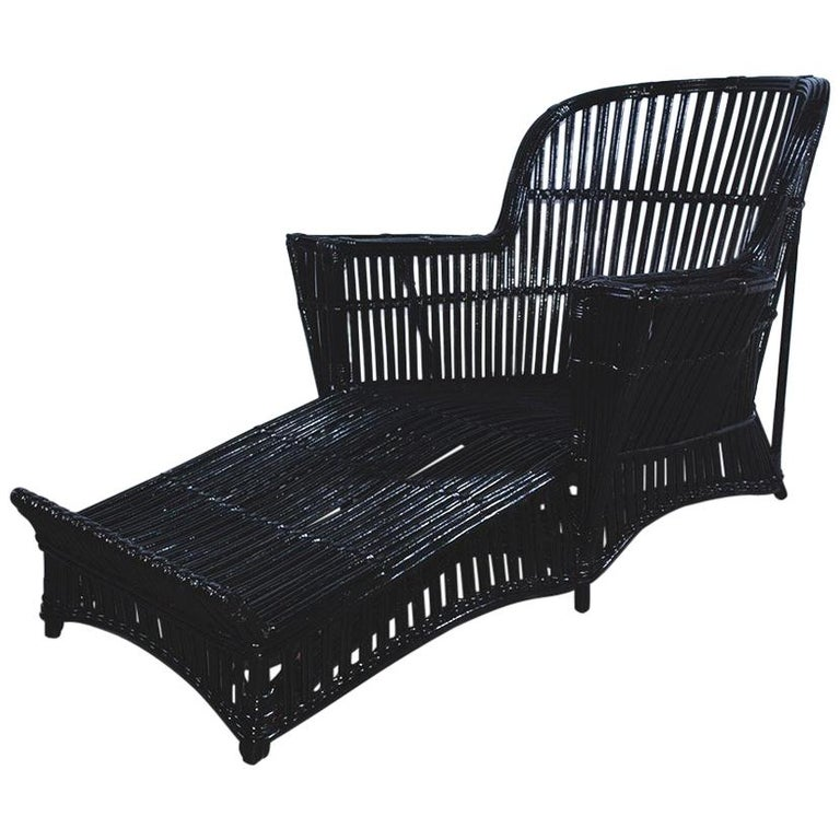 Antique Stick Wicker Chaise For Sale