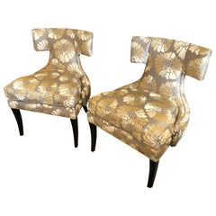 Pair of Glimmering Glamorous Clarence House Upholstered Klismos Chairs