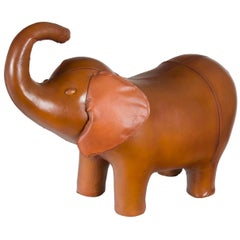 Rustic Leather Elephant Animal Footstool Stool