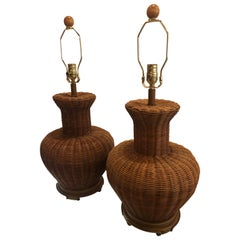 Vintage Pair of Oversized Wicker Ginger Jar Table Lamps
