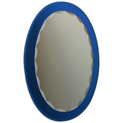 Mid-Century Modern Italian Metalvetro Galvorame Mirror with Blue Glass Frame