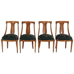 Set of Eight French Empire 'Gondola' Chairs in Amboyna Wood