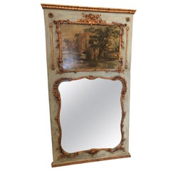 Classically Beautiful Painted French Trumeau Mirror