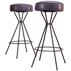 Pair of Mid-Century Modern Wrought Iron and Leather Swivel Bar Stools