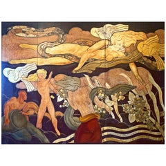 """Pomona with Rain and Lightning,"" Monumental Art Deco Mural in Gold and Bronze"