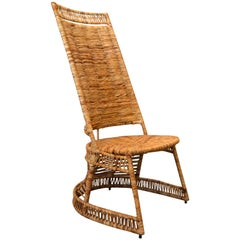 Vintage Entirely Handwoven Sculptural Cane and Rattan Side Chair with Rush Seat