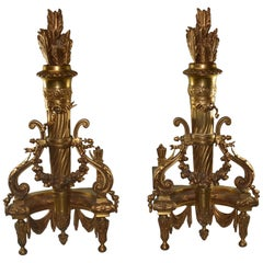 Pair of French Andirons Arrows and Quiver Gold Dore'
