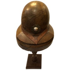 One of a Kind Walnut Sculpted Helmet on Stand