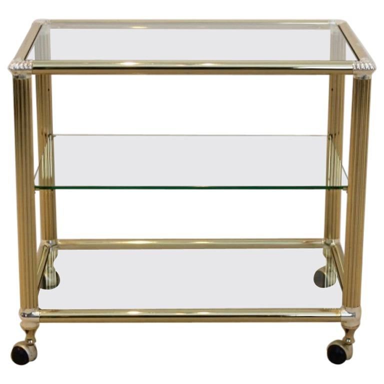 Brass and Glass Belgium Bar Cart, 1970s For Sale