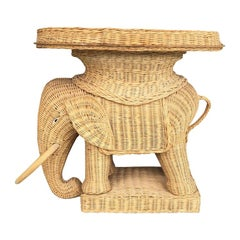 Vintage Boho Wicker Rattan Elephant Side Table Style of Mario Lopez Torres 1970s