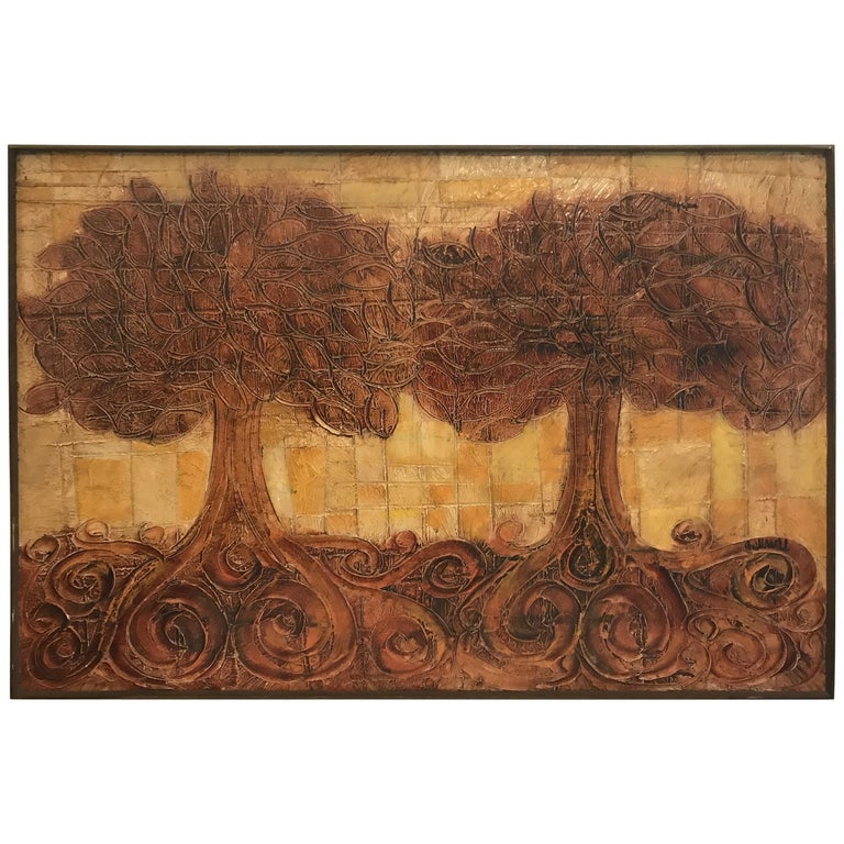 Large Organic Painting of Trees For Sale